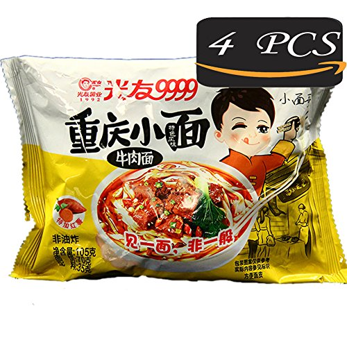 Sweet Potato Vermicelli, Sweet Potato Instant Noodle, 4Pcs Non-fried Health & Aspects Traditional Cuisine from China, GUANGYOU convenience foods, Not Delicious with The Refund! (Beef (Chinese Fried Pork)