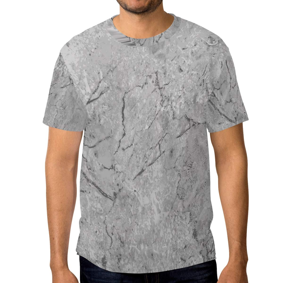Horatiood Huberyyd Gradient Marble Pattern Mens T Shirts Graphic Funny Body Print Short T-Shirt Unisex Pullover Blouse