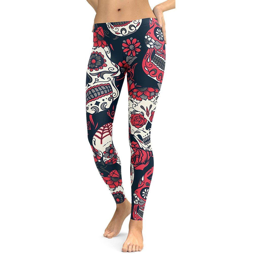 Nevera Women's Floral Print Leggings Workout Yoga Pants High Waist Tummy Control for Yoga Running Red