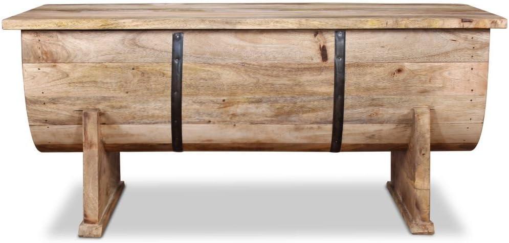Festnight Tavolino da caff/è con Contenitore in Legno Massello da Salotto e Giardino 88x50x40 cm