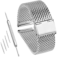 Bewish 18mm-24mm Stainless Steel 1mm Mesh Watch Band Replacement Strap Adjustable Hook Buckle Silver