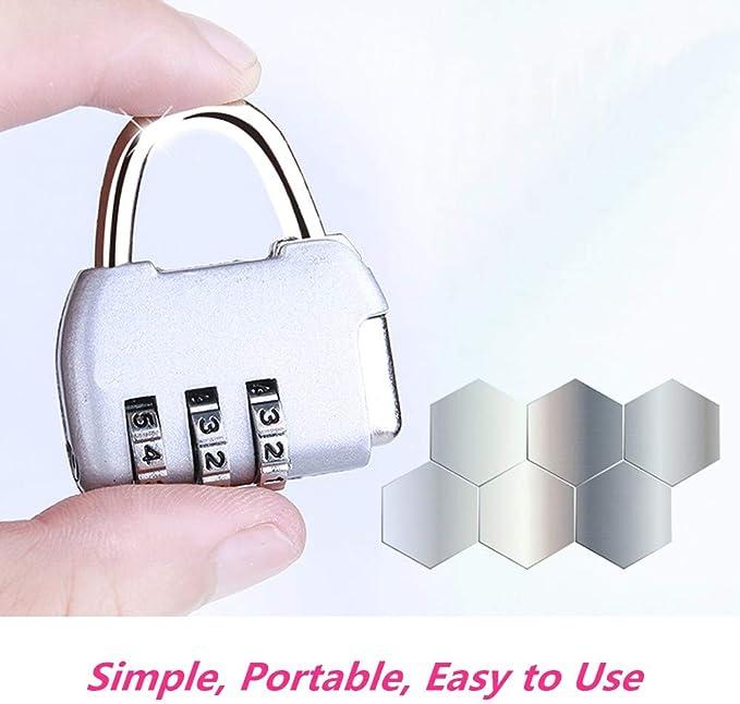 Candado de combinaci/ón de 3 d/ígitos con contrase/ña y candado con c/ódigo de aduana adecuado para bolsas de viaje Tas Lock cajones