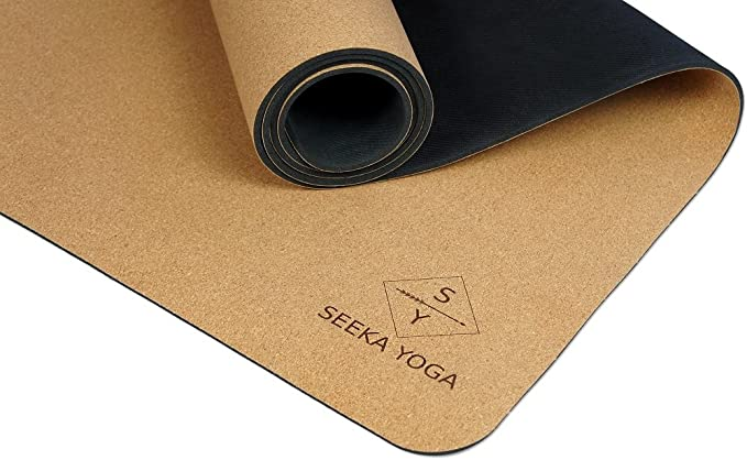 Plants A Tree. Seeka - Premium Cork Yoga Mat - Natural Rubber Bottom. Non Slip & Soft, Sweat Resistant. Extra Long and Wide for Comfort. Suitable Also ...