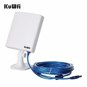 KuWFi Adaptador de red WiFi al aire libre de largo alcance, antena estable de alta