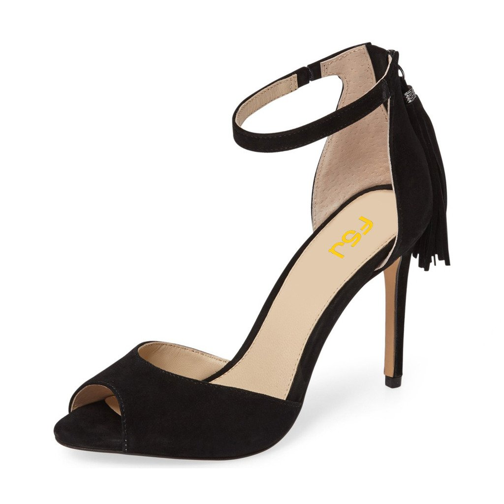 37934366a58 FSJ Women Peep Toe Ankle Strap Heels Sandals Stiletto Chic Fringed Party  D'Orsay Shoes Size 4-15 US