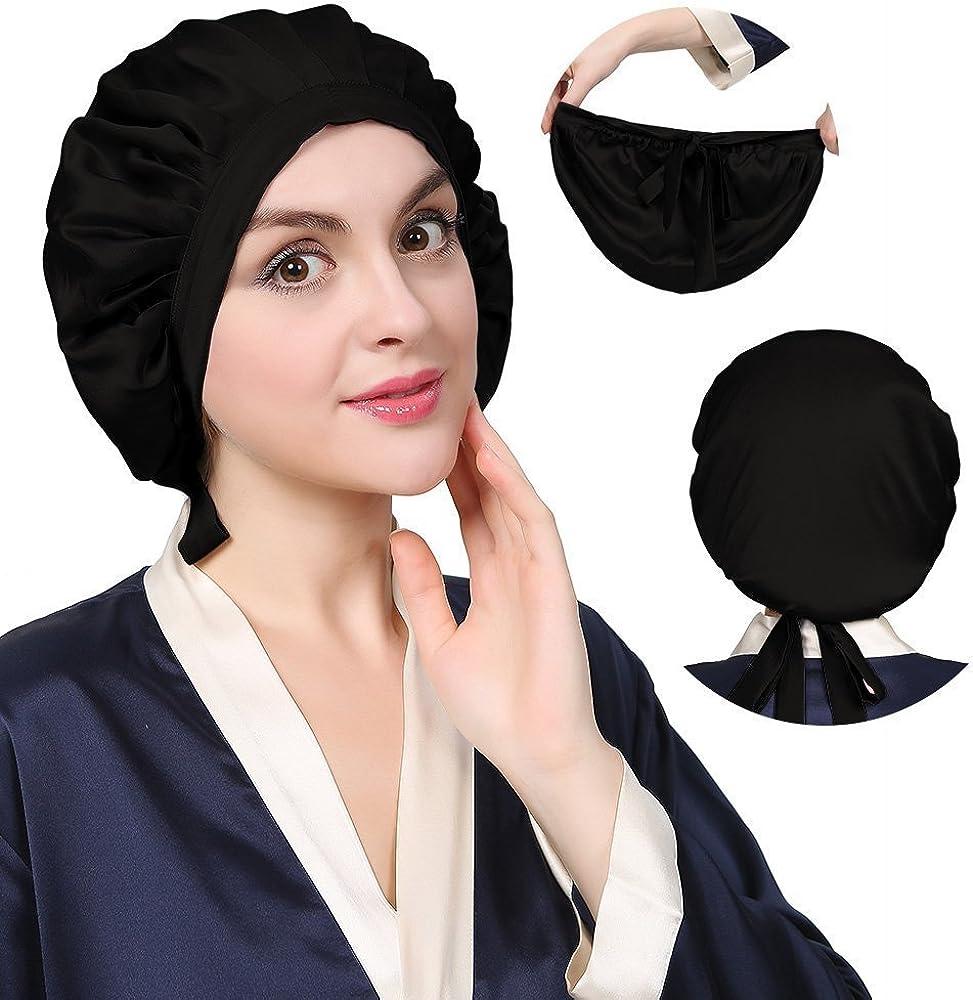 KATESILK Seide Schlafm/ütze Atmungsaktive Nachtm/ütze Kopfbedeckung mit Klassischer und Bequemer Form