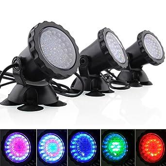 KOBWA Spot Lampe 36 LED Unterwasser Spot Licht,IP68 Wasserdicht RGB LED  Aquarien Licht Für