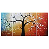 Amazon Price History for:Ode-Rin Art Christmas Gift Hand Painted Oil Painting White Flowers Tree 3 Panels Wood Inside Framed Hanging Wall Decoration