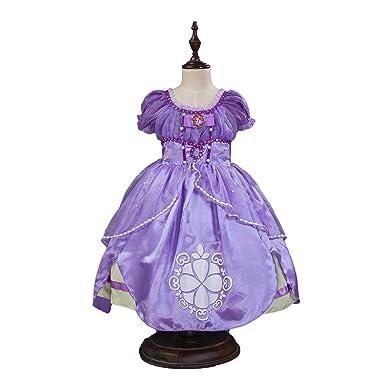 cd88c3eee85f4 Amazon.co.jp: プリンセスドレス ソフィア風 ミニドレス 4層構造 なりきり 子供 お姫様 キッズドレス 新しいドレス   服&ファッション小物