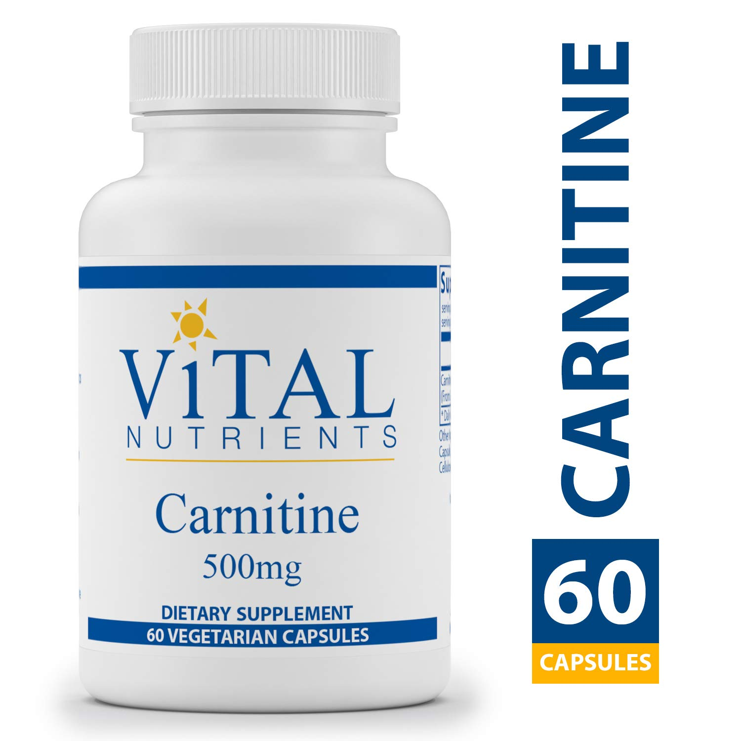 Vital Nutrients - Carnitine 500 mg - Cardiovascular and Fat Metabolism Support - 60 Capsules