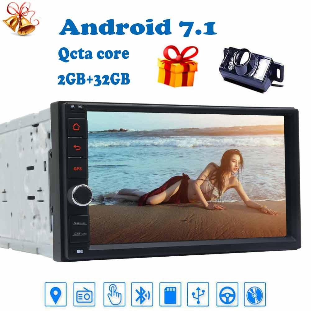 バックミラーカメラ+ダブルディンのAndroid 7.1 automagnitol 2 DINカーラジオステレオAutoradio GPSダッシュ7