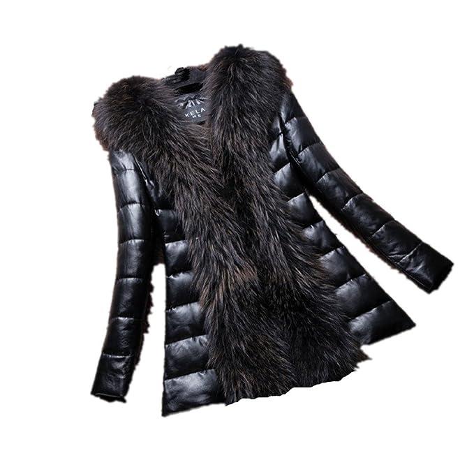 BOMOVO Abrigo Para Mujer Chaqueta de cuero cuello de pelo grande