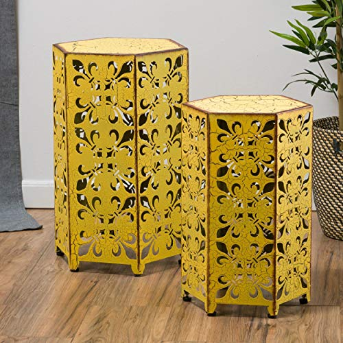 Christopher Knight Home Contemporary, Outdoor Parrish Antique Accent Table Set of 2 Yellow