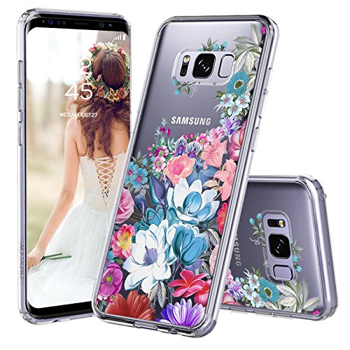 Galaxy S8 Case, Clear Galaxy S8 Case, MOSNOVO Floral Flower Garden Pattern Printed Clear Design Transparent Plastic Back Case with TPU Bumper Protective Case Cover for Samsung Galaxy S8 (2017)