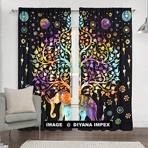 DIYANA IMPEX Indian Tie Dye Tree Of Life Tapestry, Mandala Window Curtain Valances Room Divider 2 Pc Panel Set 84 x 80