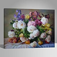 LIUDAO Paint by Number for Kids and Adults DIY Oil Painting - 16x20 Inches Wooden Frame Bouquet Rose Flower