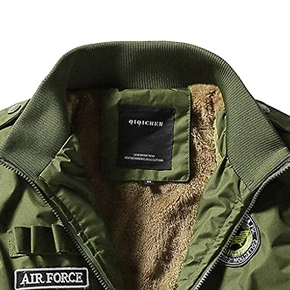 Winter Warm Jacket, Men Casual Bomber Cardigan Coat Plus Size Stand Collar Military Outwear at Amazon Mens Clothing store: