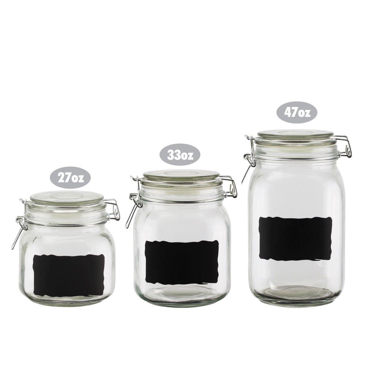 amazon com chalkboard label glass jar canisters quality clear amazon com chalkboard label glass jar canisters quality clear round reusable with air tight lids small 27 oz canister kitchen dining