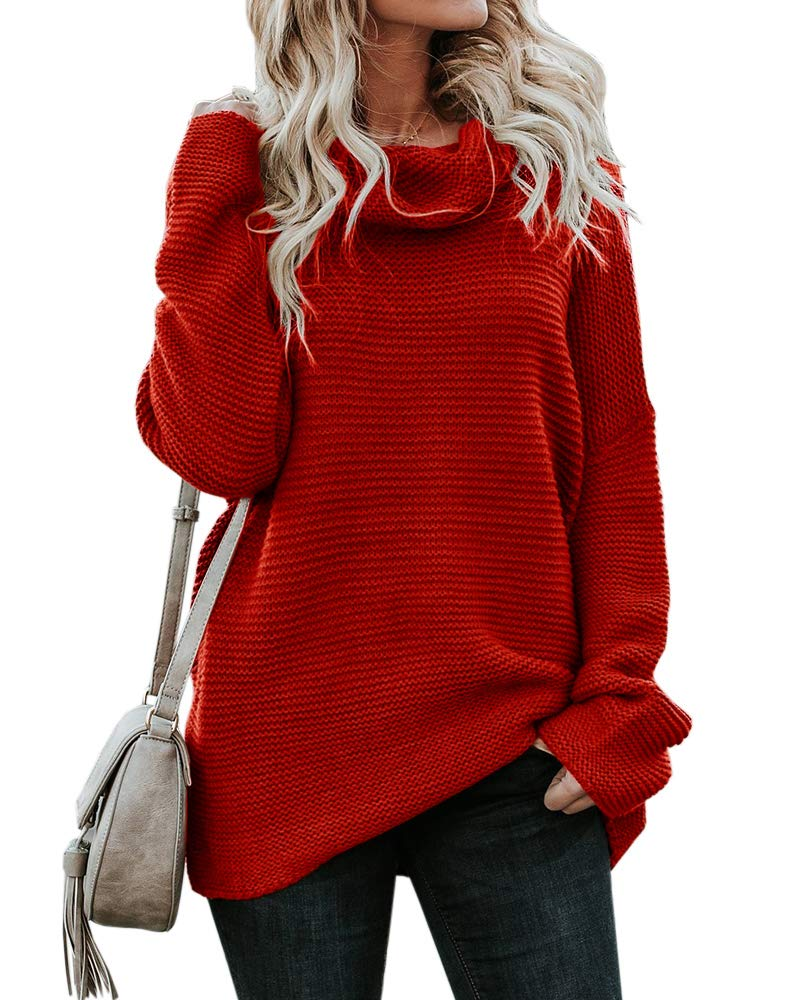 Pxmoda Women's Casual Long Sleeve Turtleneck Knit Sweater Chunky Oversized Pullover Jumper (L, Red) by Pxmoda