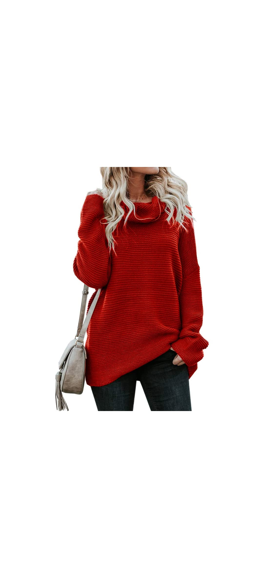 Womens Cowl Neck Sweaters Oversized Casual Fall Chunky