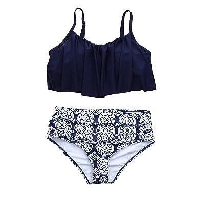 Damen High Waist Bikini Set Blumen Rüsche Bademode Push Up Gepolstert Badeanzug
