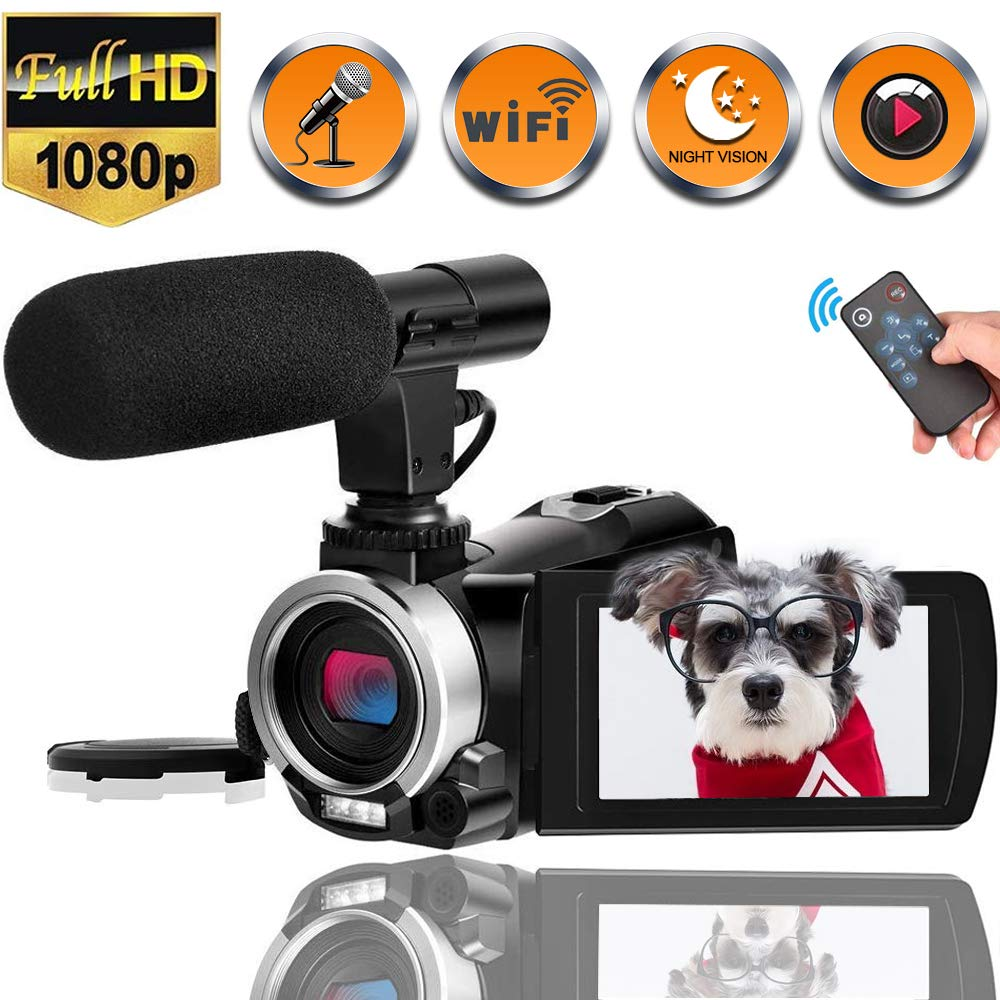 Camcorder Video Camera with Microphone WiFi Full HD 1080p 30fps 24.0MP Vlogging Camera Recorder for YouTube Support Night Vision Remote Controller Time Lapse with Two Batteries and Free HDMI Cable