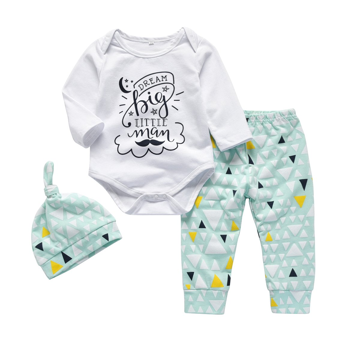 Newborn Infant Baby Boy Clothes Funny Letter Print Romper Outfit Set with Geometric Pants and Hat (0-6 Months)