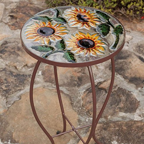 Outdoor Decor Sunflowers Round Glass Side Table