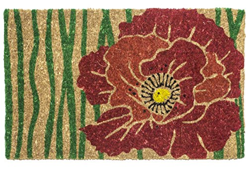 Entryways Bloom , Hand-Stenciled, All-Natural Coconut Fiber Coir Doormat 18