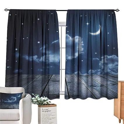 Amazon Com Familytaste Dark Blue Bedroom Curtains Vivid Night Sky