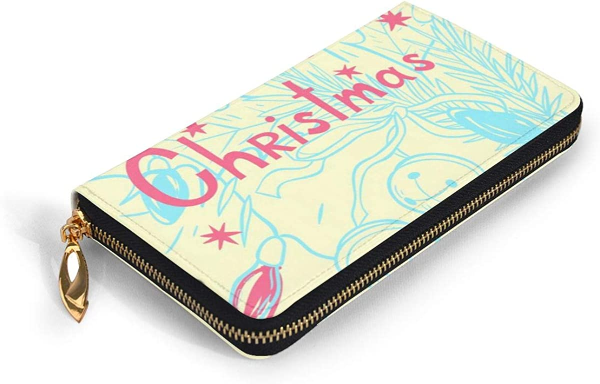 Yunshm Merry Christmas Vector Seamless Background Leather Zipper Clutch Bag Wallet Large Capacity Long Purse For Women Personalized