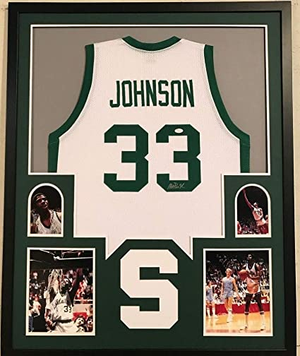 buy online e29f5 990b6 Framed Magic Johnson Autographed Signed Michigan State ...