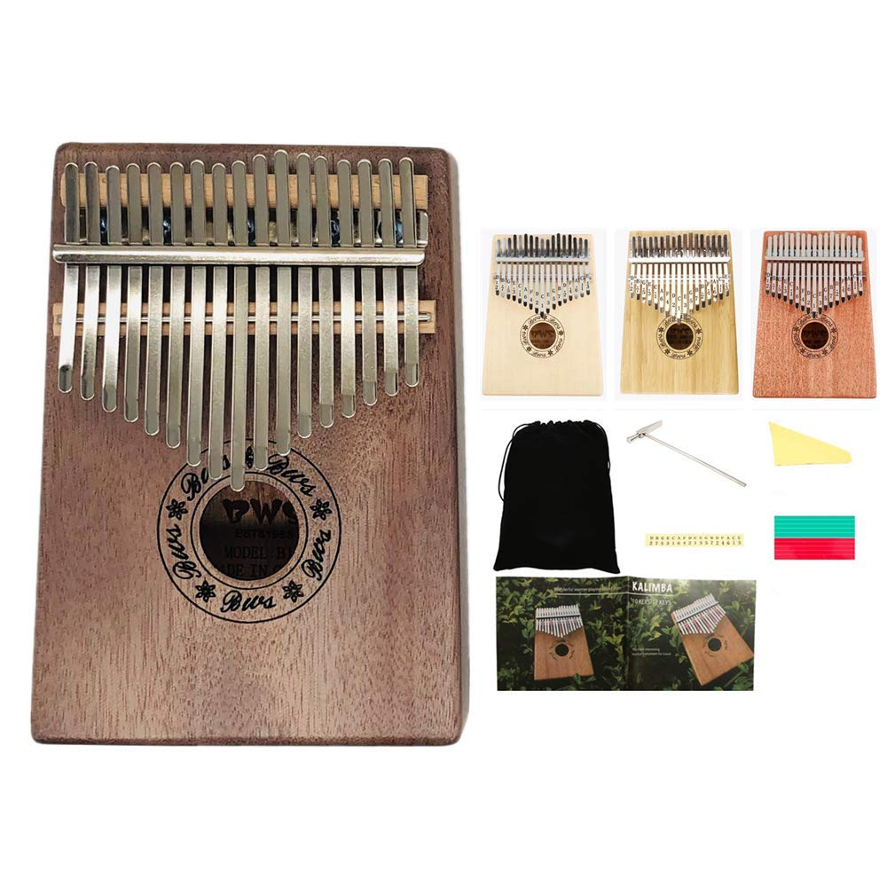 Kalimba 17 Keys Thumb Piano With Finger Pianos Bag Tuning Hammer Study Instruction Book (Mahogany Brown) by Colorful Time