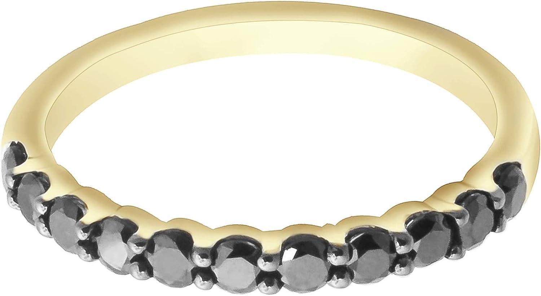 Goldenstar 0.51Ct Black Diamond Ring Prong Setting Band 925 Sterling Silver