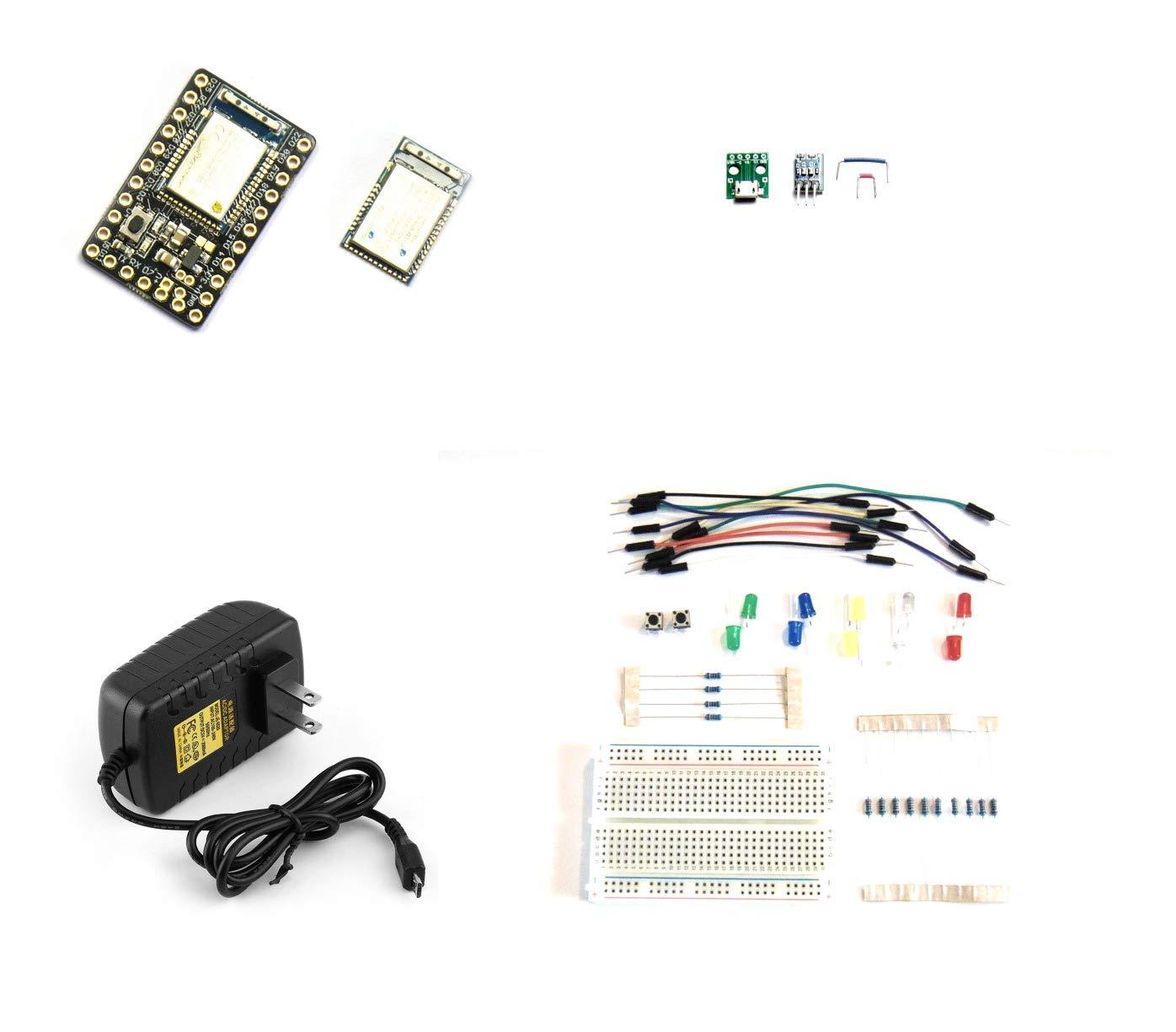 Kit containing one Espruino MDBT42Q Breakout and one KitsBitsnBytes USB Power Breadboard KM-EMDBTBB007