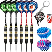 CyeeLife Steel Tip Darts 18/22/24/30g Professional,Aluminium Shafts with Rubber O Rings+Sharpener+Tool+Extra F