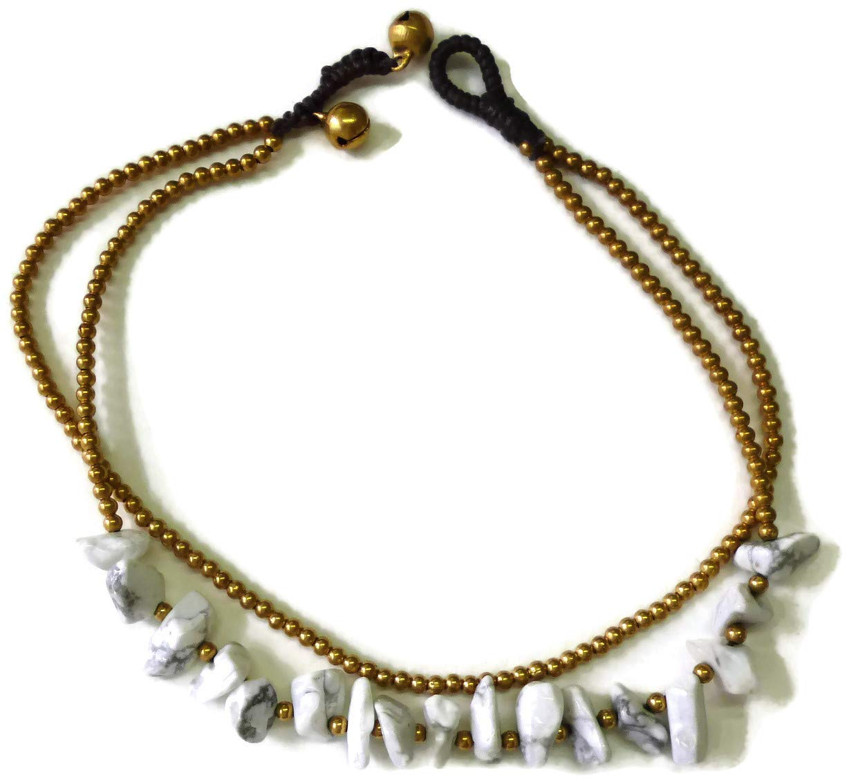 Moose546 Ankle Bracelets with White Turquoise Chips and Bells 11 Inches Mini Beads Beach Bohemian Style Jewelry FC-051