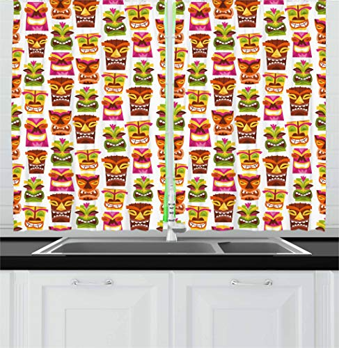Ambesonne Tiki Bar Decor Kitchen Curtains, 60's Retro Inspired Cute Hawaiian Party Happy Tiki Statues Pattern Colorful, Window Drapes 2 Panel Set for Kitchen Cafe, 55 W X 39 L Inches, Multicolor ()