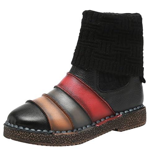 Vogstyle Damen Herbst Winter Neue Warm Schneestiefel Baumwolle Strick Stiefel Retro Leder Schuhe Kontrastfarbe