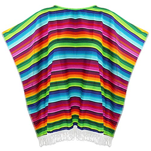 Skeleteen Mexican Serape Poncho Costume - Cinco De Mayo Mexican Fiesta Ponchos for Adults and Kids -