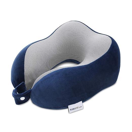 FLEXISPOT Almohada Cervical en Forma de U, con Diseño Ergonómico, 100% Espuma de Memoria, Ayuda a Sujetar el Cuello y la Cabeza, Uso de ...