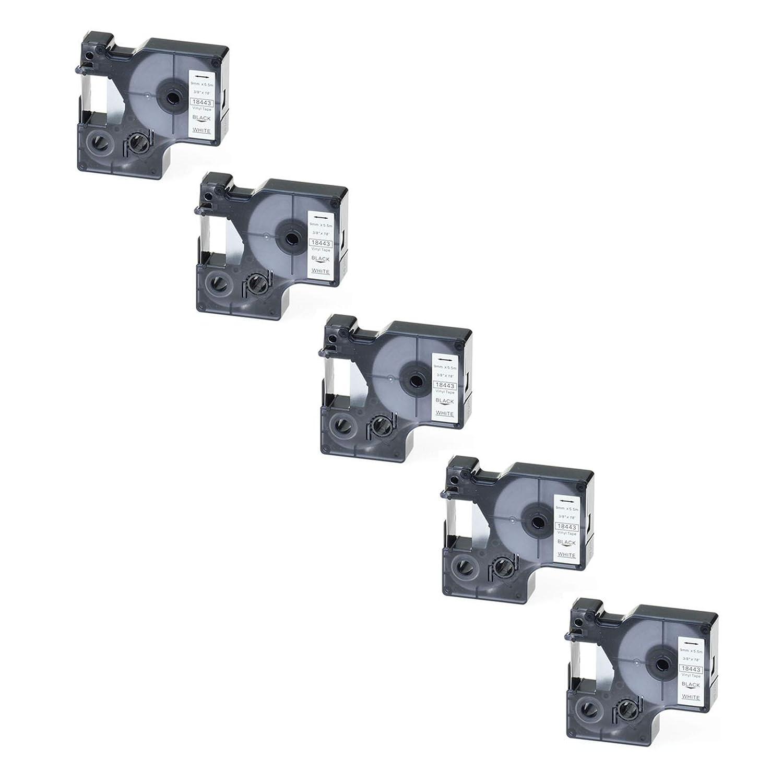 """2 PK Black on WHITE VINYL LABEL 18443 for DYMO RHINO 1000 3000 5200 9mm 3//8/"""""""