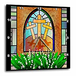 3dRose A Colorful Stained Glass Window of The Cross of Jesus at Easter - Wall Clock, 13 by 13-Inch (dpp_11636_2)