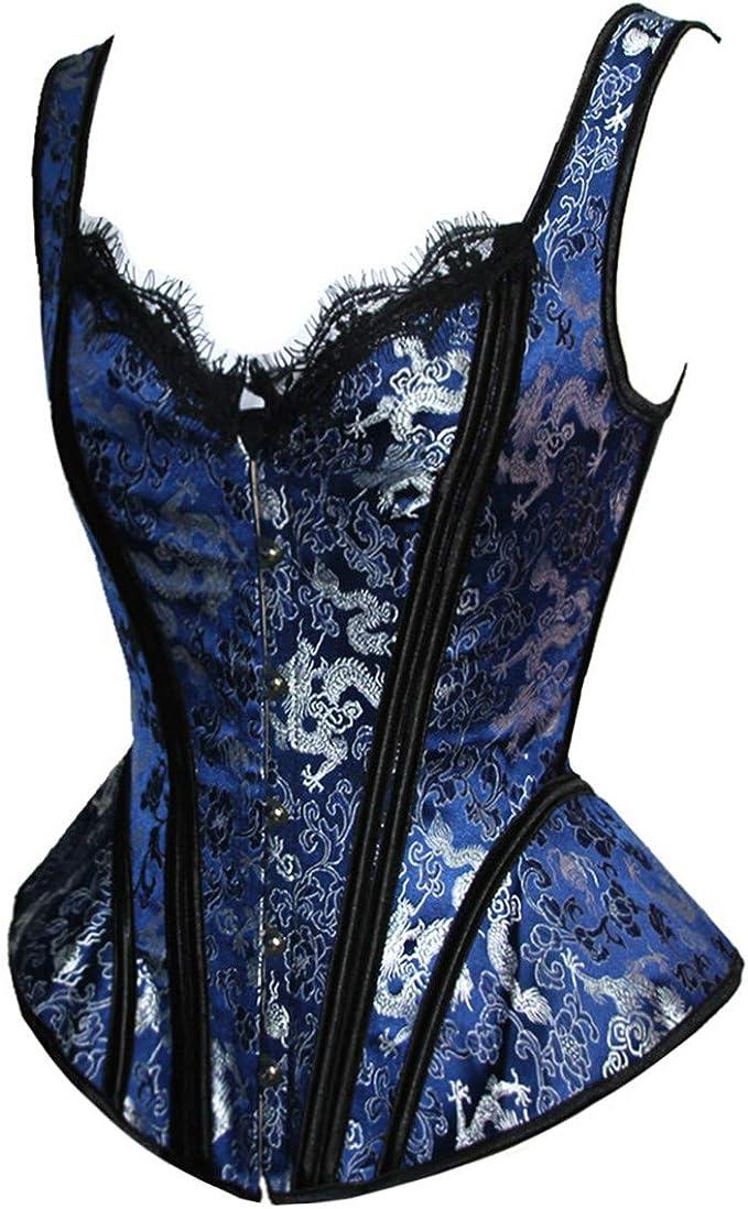 SZIVYSHI Mujer Sexy Gótico Vintage Steampunk Brocado Lace ...