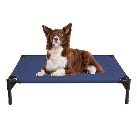 Veehoo Cama Perro Refrescante - Cama Elevada para Mascotas Anticalor y Antidesgarra en Verano, M, Azul