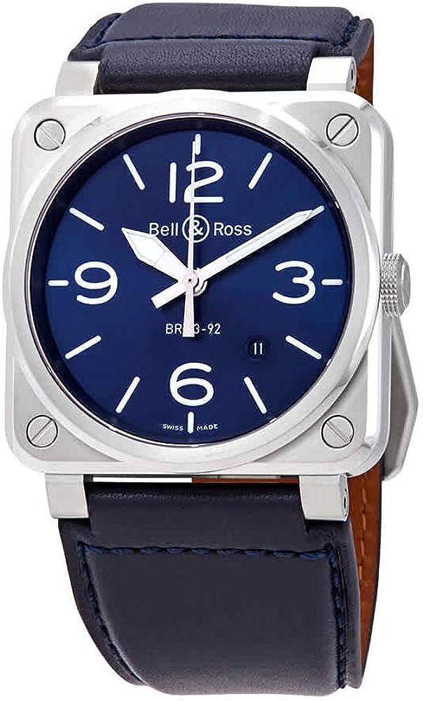 Bell & Ross Instruments BR0392-BLU-ST/SCA - Reloj para hombre de acero azul