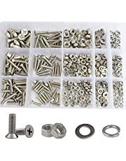 Phillips Round Pan Head Machine Screw Nuts Flat and Lock Washer Assortment Kit 304Stainless Steel