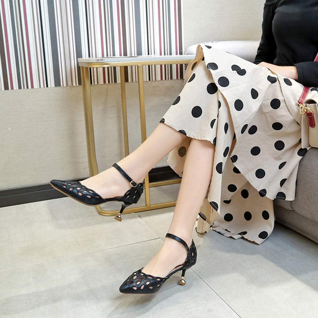 SHIJUNWE Womens Open-Toe Thick Heel Sandals Fashion Two Wear Wild Heels Sandals