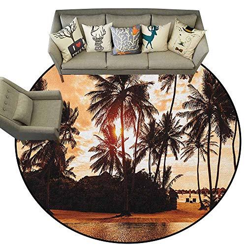 Hedda Clare Super Soft Round Area Rug,Beach,Tropic Ocean Sea Love Bora Bora Island Palms Art for Nature Lovers Sunset Scene, Brown and Orange,Office Soft Carpet Floor Mat4 - Stripes Rug Ocean Tropic Multi