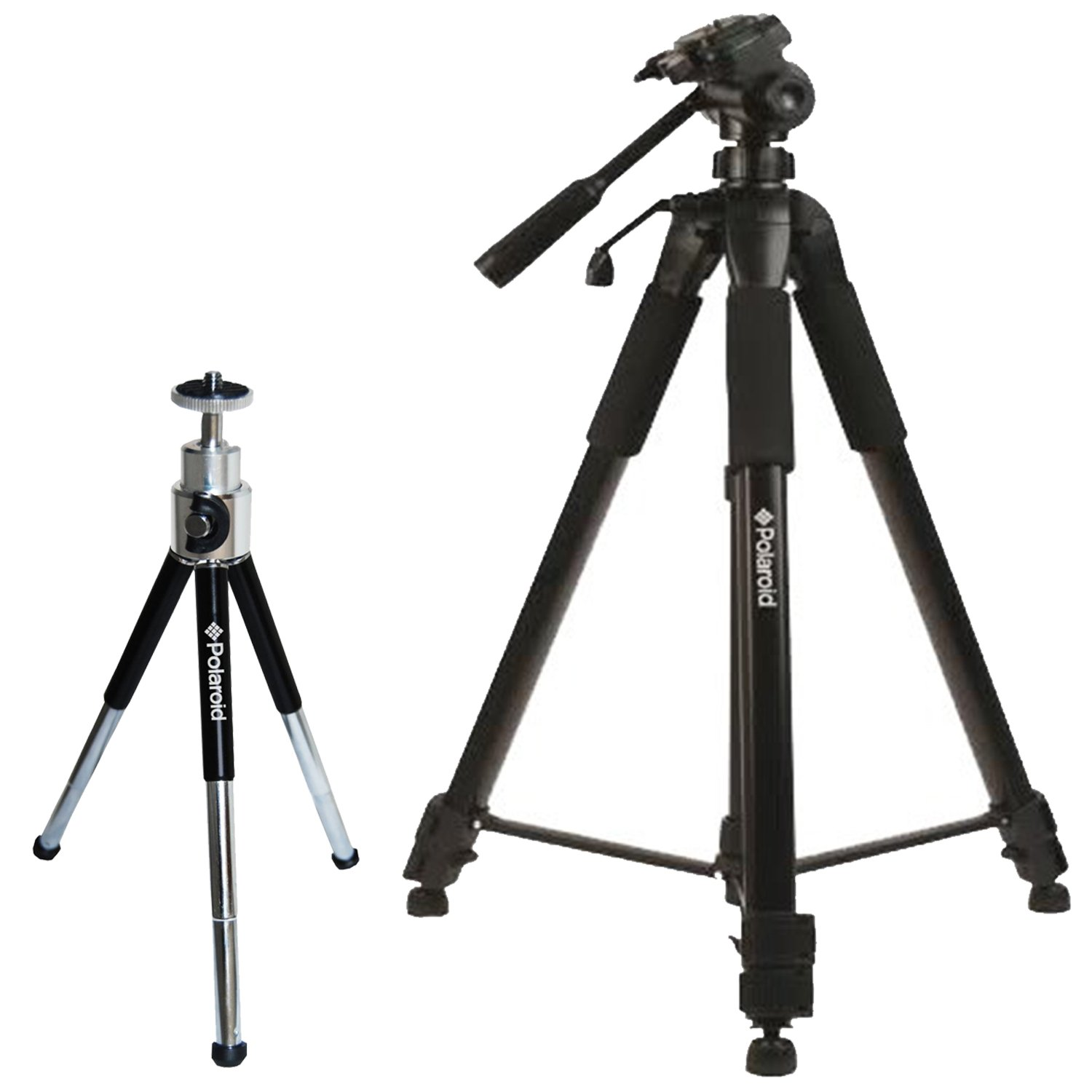 Polaroid 72-inch Photo / Video ProPod Tripod Includes Deluxe Tripod Carrying Case + Additional Quick Release Plate For Digital Cameras & Camcorders and Polaroid 8'' Heavy Duty Mini Tripod With Pan Head